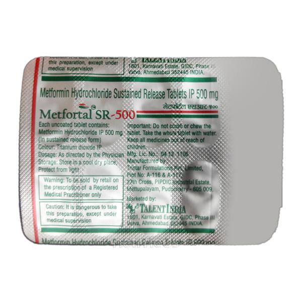Metfortal SR 500mg Tablet 10'S