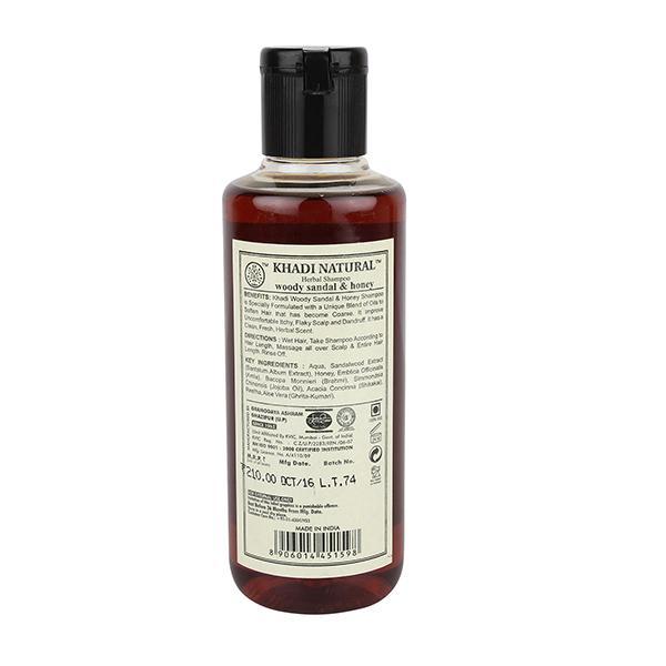 Khadi Natural Hair Cleanser - Woody Sandal & Honey 210 ml