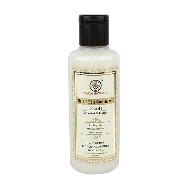 Khadi Natural Herbal Hair Conditioner (SLS & Paraben Free) - Shikakai Honey 210 ml