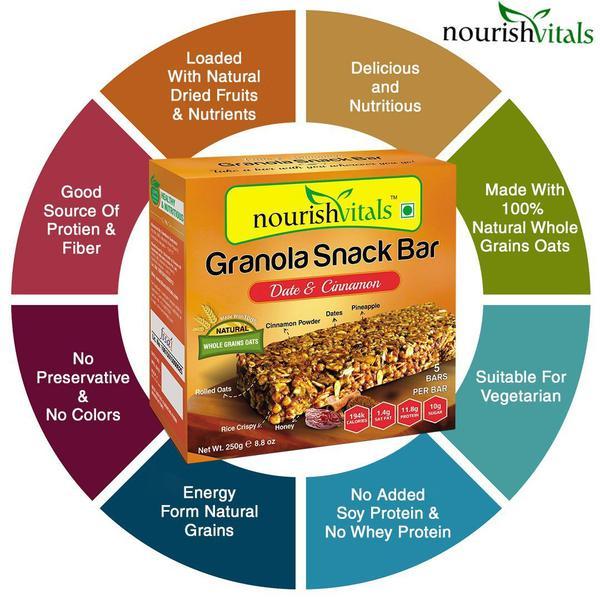 NourishVitals Granola Snack Bar - Date & Cinnamon (5 Bars) 250 gm