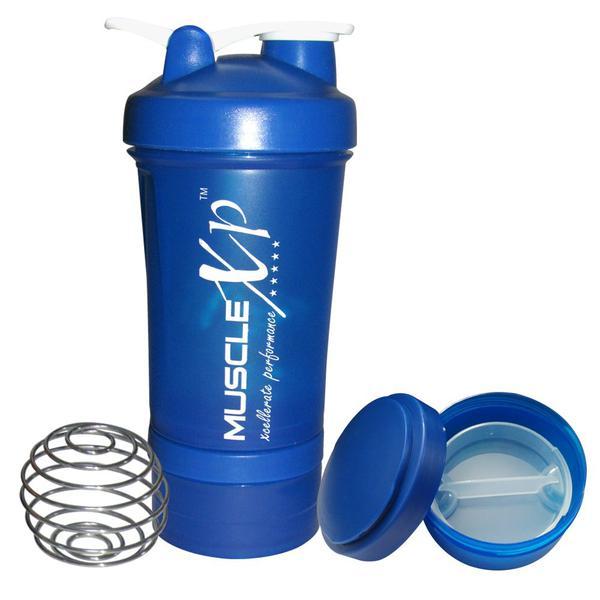 MuscleXP Advancedstak Protein Shaker with Steel Ball - Blue & White 500 ml