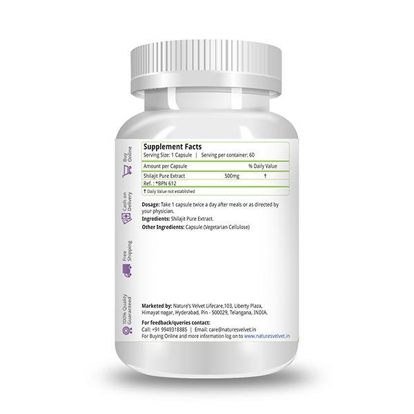Natures Velvet Shilajit Pure Extract 500 mg Capsules 60's