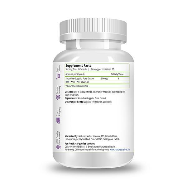 Natures Velvet Shuddha Guggulu Pure Extract 500 mg Capsules 60's