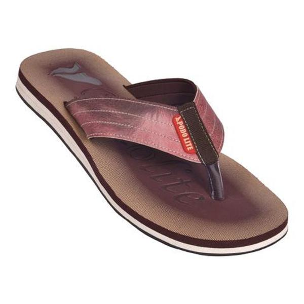Podolite Men's MCP Flip Flop and House Slippers (Brown, 9) 1 Pair
