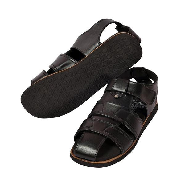 Podolite Men's Knight Diabetic and Orthopaedic MCP Sandal (Black, 8) 1 Pair