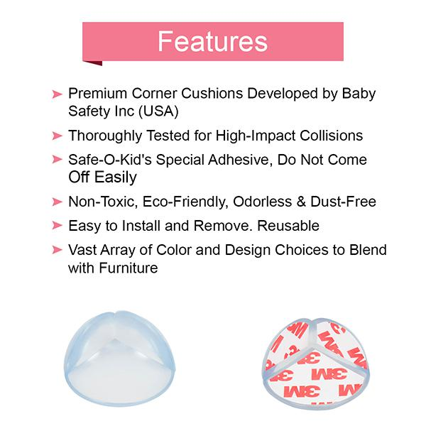 Baby Safety Inc High Quality Transparent Round Corner Caps (Pack of 8)