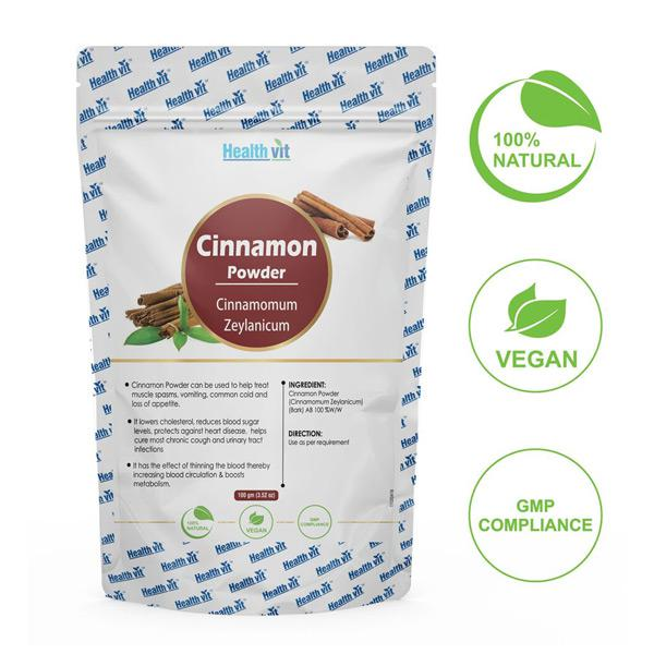 HealthVit Natural Cinnamon (Cinnamomum Zeylanicum) Powder 100 gm