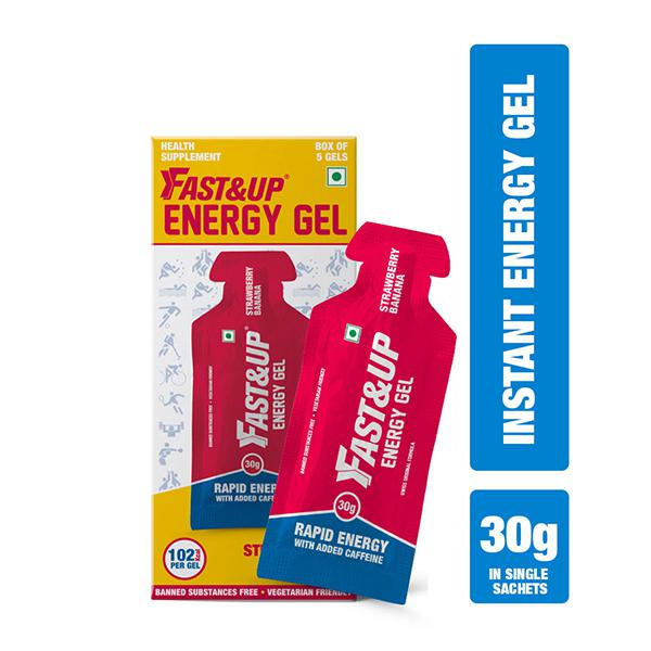 Fast&Up Energy Gel - Strawberry and Banana Flavour (5 x 30 gm)