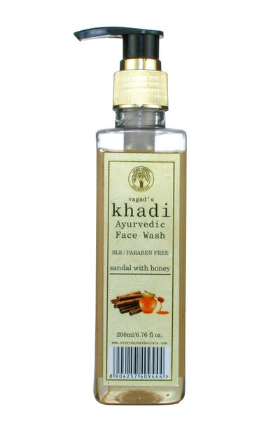 Vagad's Khadi Face Wash - Sandal with Honey (S.L.S and Paraben Free) 200 ml