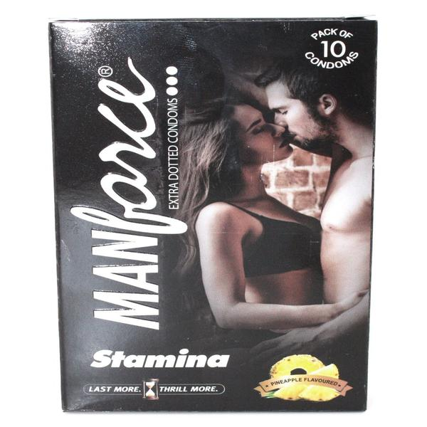Manforce Stamina Extra Dotted Condoms - Pineapple Flvoured 10's