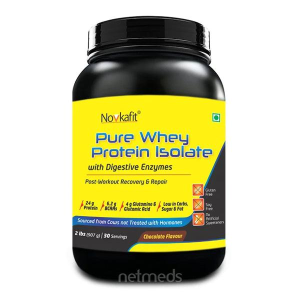 Novkafit Pure Whey Protein Isolate 2 lbs Chocolate Flavour 907 gm
