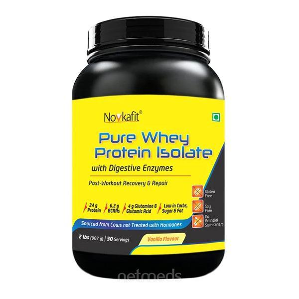 Novkafit Pure Whey Protein Isolate 2 lbs Vanilla Flavour 907 gm