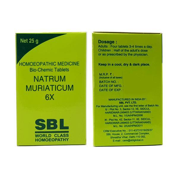 SBL Natrum Muriaticum 6X Tablet 25 gm
