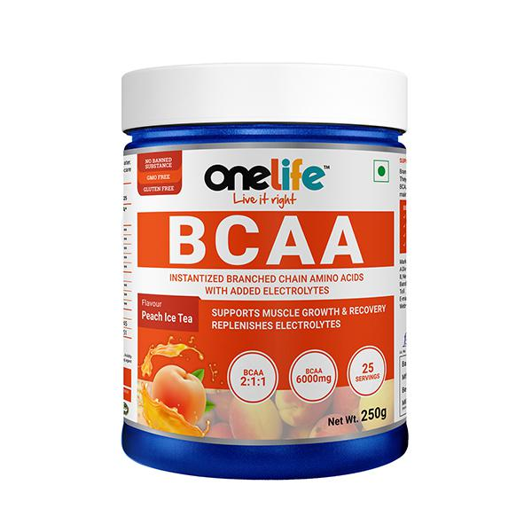 Onelife BCAA Powder - Peach Ice Tea Flavour 250 gm