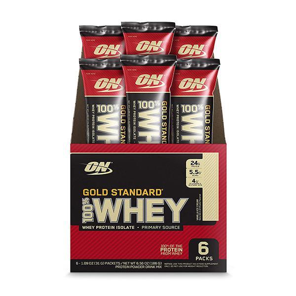 Optimum Nutrition 100% Whey Gold Standard Individual Stick Packs Vanilla Ice Cream Pack Of 6's