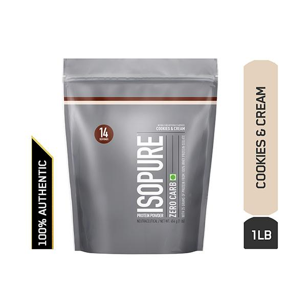 Isopure Zero Carb 100% Whey Protein Isolate Powder- Cookies & Cream 1 lb