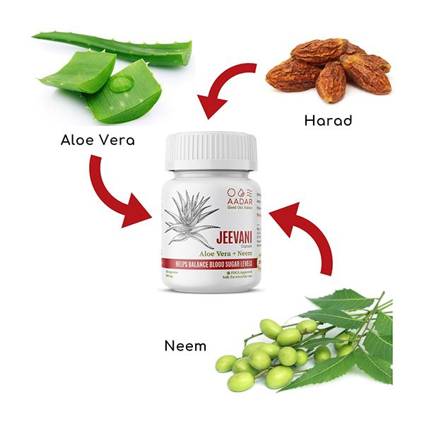 Aadar Jeevani Capsules 60's- Natural Blood Glucose Support, with Aloe Vera & Neem