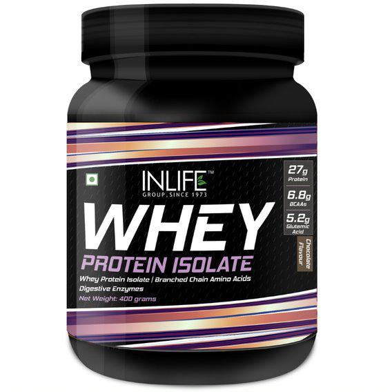 INLIFE Whey Protein Isolate Powder - Chocolate Flavour 400 gm
