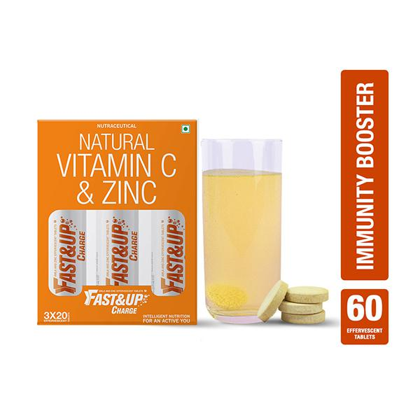 Fast&Up Charge Natural Vitamin C & Zinc Effervesent Tablet - Orange Flavour (Pack of 3 x 20's)