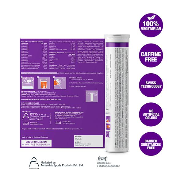Fast&Up Vitalize Multivitamin Effervescent Tablet - Orange Flavour (Pack of 3 x 20's)