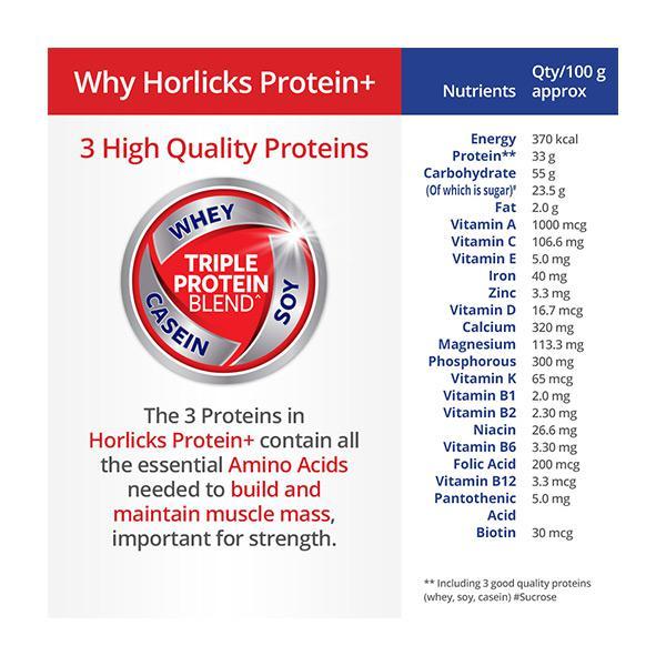 Horlicks Protein Plus Powder - Chocolate Flavour 400 gm (Pet Jar)