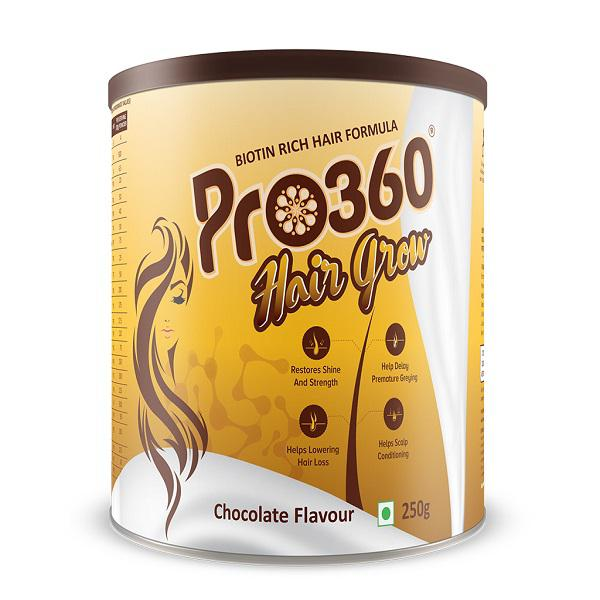 Pro360 Hair Grow Nutritional Powder - Chocolate Flavour 250 gm