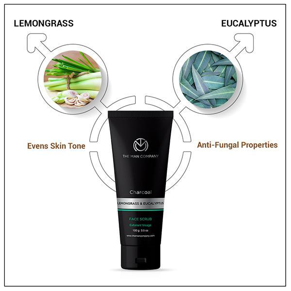 The Man Company Charcoal Exfoliating Face Scrub - Lemongrass & Eucalyptus 100 gm