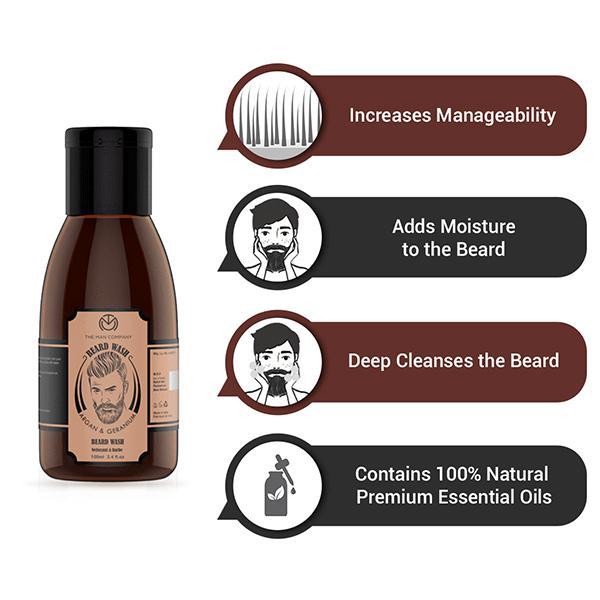 The Man Company Beard Wash for Smoothening - Argan & Geranium 100 ml