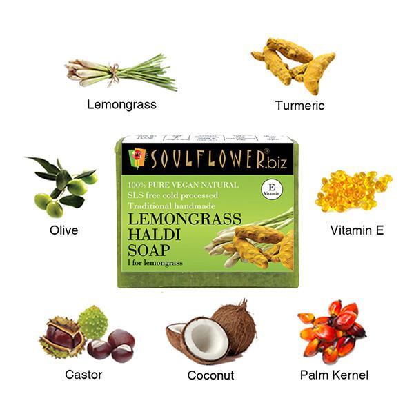 Soulflower Soap - Lemongrass Haldi 150 gm