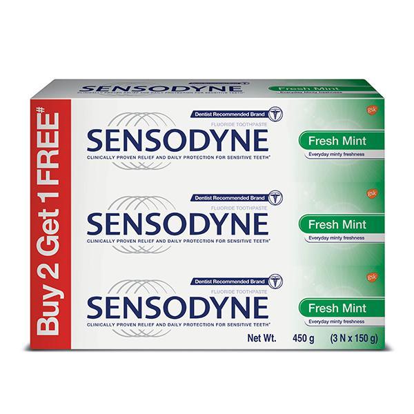 Sensodyne Sensitive Toothpaste - Fresh Mint (Pack of 3 x 150 gm)