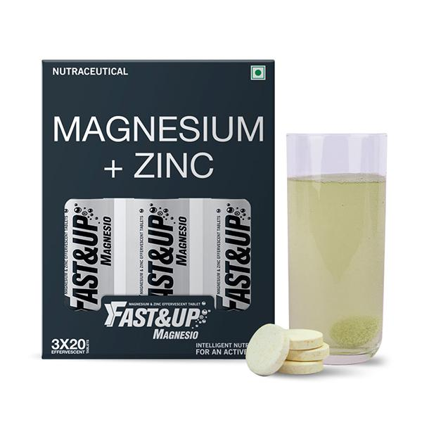 Fast&Up Magnesio Magnesium & Zinc Effervescent Tablets - Lime & Lemon Flavour (Pack of 3 x 20's)